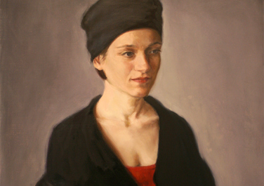 Charis, rot und schwarz, 2000, Oil on canvas, 61 x 51 cm
