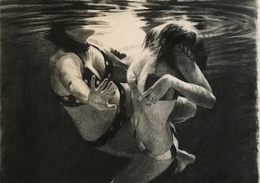 Two Swimmers #4, 2012-14, Coal on paper, 102 x 66 cm