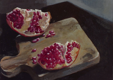 1810 Granatapfel mit Holzbrett, 2013, Egg tempera on wood, 30 x 30 cm