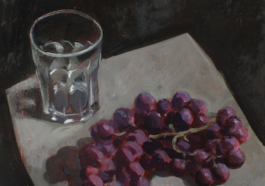 1867 (Trauben mit Glas), 2014, Egg tempera on wood, 30 x 30 cm