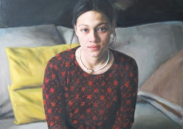 Sabrina auf dem Sofa, 1998, Oil on canvas, 90 x 50 cm