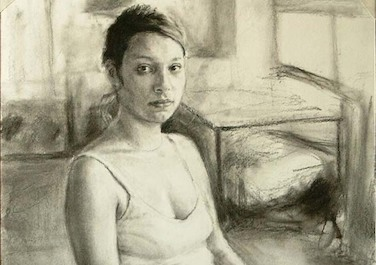 Sabrina im Atelier, 2004, Charcoal drawing, 36 x 37 cm