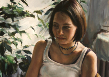 Jessica am Küchentisch, 2006, Oil on canvas, 80 x 50 cm
