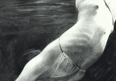 Diving, 2012-14, Coal on paper, 102 x 66 cm
