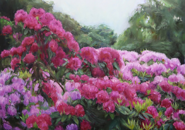 Roter Rhododendron, 2016, Oil on canvas, 130 x 130 cm
